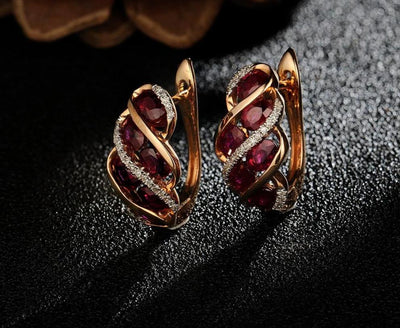 Gold Earrings For Women Authentic 14K 585 Rose Gold Shiny Red Ruby Sparkling Diamond Wedding Engagement Fine Jewelry - Mirage Novelty World
