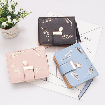 Women Wallets Short Wallet Ladies Zipper Buckle Hollow Leaf Purse Wallet - Mirage Novelty World