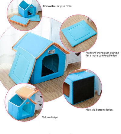 Pet Cat House Foldable Bed With Mat Soft Winter Kitten - Mirage Novelty World