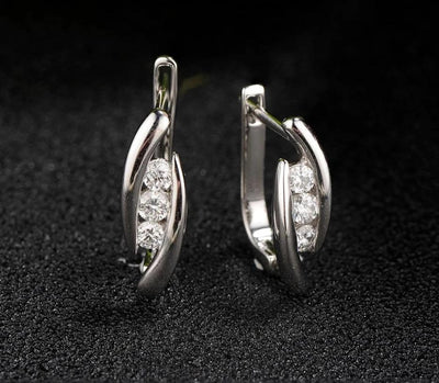 Gold Earrings For Women 14K 585 White Gold Luxury Luminous Diamond Wedding Band Engagement Exquisite Trendy Fine Jewelry - Mirage Novelty World
