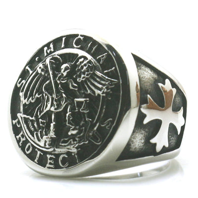 Mens Cross Saint Michael Protect US 316L Stainless Steel Cool 3D Design Ring - Mirage Novelty World