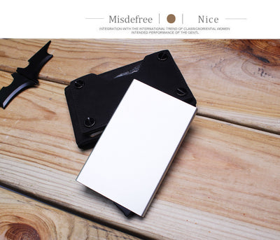 Aluminum Wallet With Elasticity Back Pocket ID Card Holder Rfid Blocking Mini Slim Wallet Automatic Pop up Credit Card Case Box - Mirage Novelty World