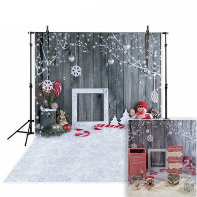 photographic background Christmas snowman gray woodwall snowflake backdrop photocall new photobooth vinyl photography - Mirage Novelty World