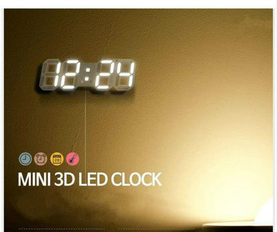 3D LED Wall Clock Modern Digital Alarm Clocks Display Home Kitchen Office Table Desk Night Wall Watch 24 Or 12 Hour Display - Mirage Novelty World