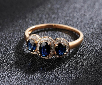 Gold Rings For Women Genuine 14K 585 Rose Gold Ring Sparkling Diamond Blue Sapphire Engagement Anniversary Fine Jewelry - Mirage Novelty World
