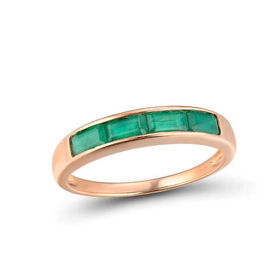Gold Rings For Women Genuine 14K 585 Rose Gold Ring Magic Emerald Engagement Anniversary Round Rings Trendy Fine Jewelry - Mirage Novelty World