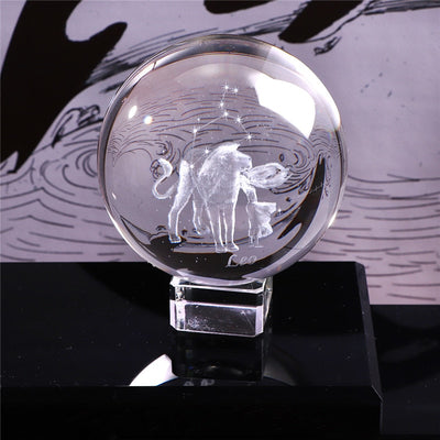 60 MM 3D Zodiac Sign Krystal Ball Miniature Laser Engraved Glass Sphere Crystal Craft Home Decor Birthday Gift Ornament - Mirage Novelty World