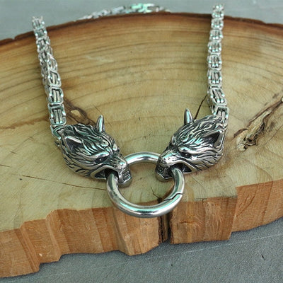 men Cool necklace stainless steel wolf head chain viking men necklace 6mm x50cm or 6mmx 60cm - Mirage Novelty World