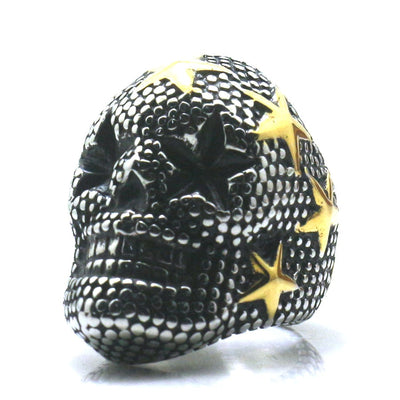 316L Stainless Steel Golden Stars Skull Big Ring Newest - Mirage Novelty World