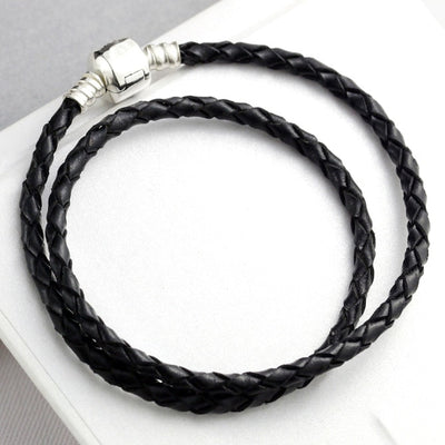 16-44cm 925 Sterling Silver Bracelet Genuine leather Ball Clasp Snake Bracelets Bangle Fit Women DIY Bead Charm Europe Jewelry - Mirage Novelty World
