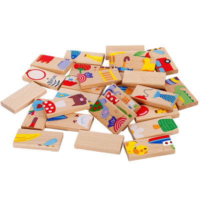 Children's Wooden Toys board game High-grade 28 pieces Beech Wood Domino Solitaire Early Learning Cognitive Educational Toys - Mirage Novelty World