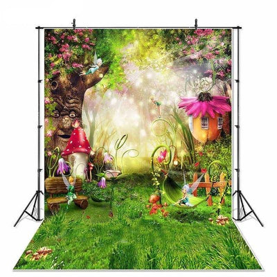 Fairy Tale Forest Photography Backdrops Backgrounds Photo Studio Mushrooms Elves Flowers Photo Background - Mirage Novelty World
