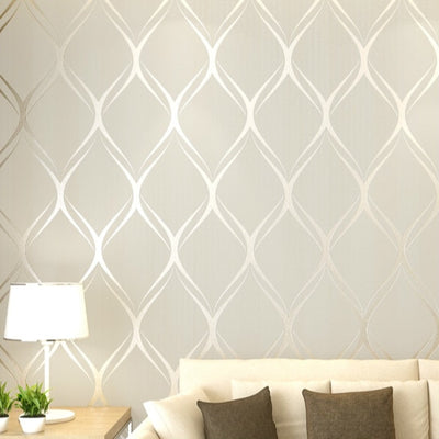 Beige,White,Grey Luxury Modern Wallpaper For Bedroom Walls Covering Living Room - Mirage Novelty World
