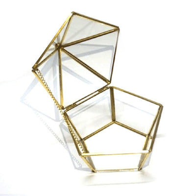 Nordic Clear Glass Ring Box Wedding Jewelry Case Immortal Flower Glass Cover Creative Home Decoration - Mirage Novelty World