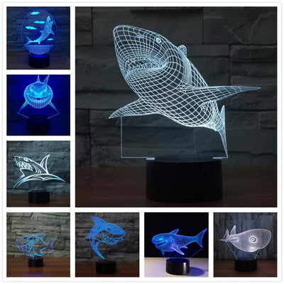 3d Shark Hologram Illusion Table Lamp - Mirage Novelty World