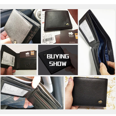 Leather Men Wallet Brand Luxury Leather Wallets Office Male Wallet Mature Man Bifold Wallet Small Purse - Mirage Novelty World