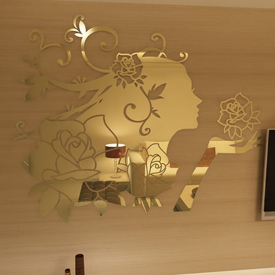 Flower Fairy Acrylic mirror Wall stickers 3D wall stickers - Mirage Novelty World
