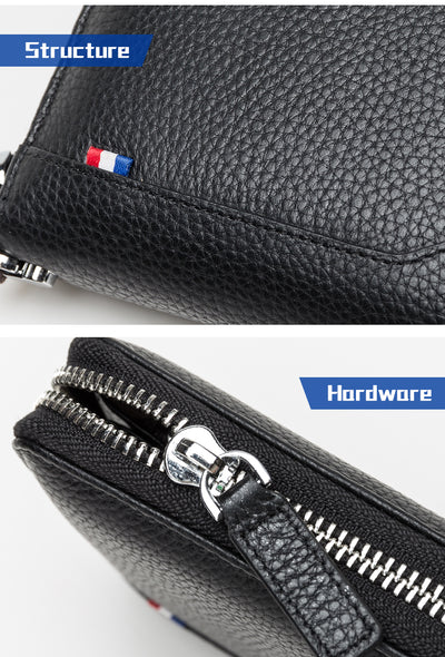 leather Men Wallets Genuine Leather Long Purse For Men Zipper Large Capacity Card Holder Men Purse - Mirage Novelty World