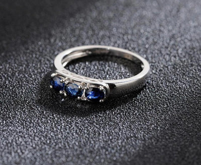 Gold Rings For Women Genuine 14K 585 White Gold Ring Sparkling Blue Sapphire Luxury Engagement Anniversary Fine Jewelry - Mirage Novelty World