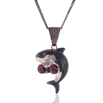 Colored Boxing Shark Pendant Necklace Fashion Iced Purple Blue Color Cubic Zirconia Shark Hiphop Jewelry - Mirage Novelty World