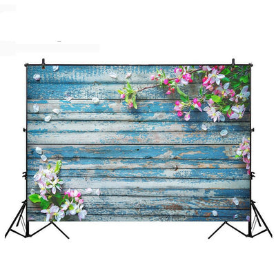 Wood Floor Photography Backdrop Spring Flower Shower Photo Background Booth Studio Goods for Photophone Vinyl Cloth - Mirage Novelty World