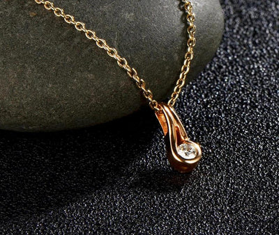 Gold Pendants For Women Authentic 14K 585 Rose Gold Sparkling Diamond Engagement Wedding Necklace Pendant Fine Jewelry - Mirage Novelty World