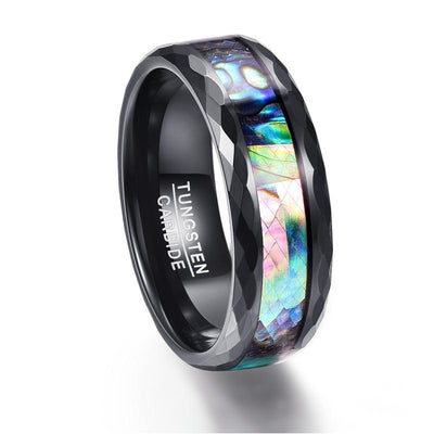 8mm Men's Abalone Shell & Polished Black Faceted Tungsten Carbide Rings Wedding Bands Size 5-14 - Mirage Novelty World