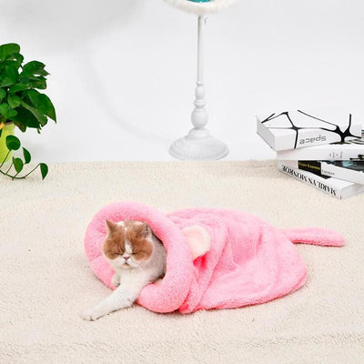 Warm Coral Fleece Cat Sleeping Bag Bed For Pets - Mirage Novelty World