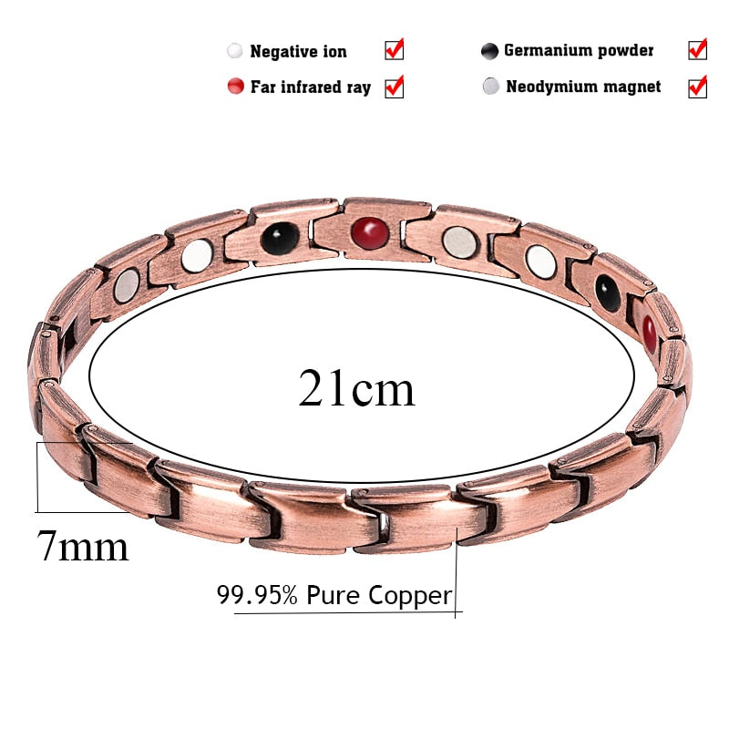 288ffce9b3695 Red Copper Bracelets with Magnet for Men Women Arthritis Pain Relief High  Quality Luxury Magnetic Bracelet
