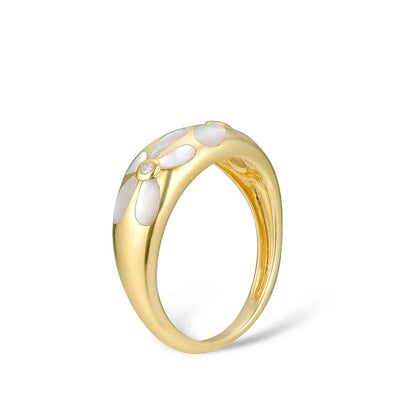 Gold Rings For Women Genuine 14K 585 Yellow Gold Ring Sparkling Diamond White Mother of Pearl Anniversary Fine Jewelry - Mirage Novelty World