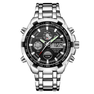 Luxury Brand Waterproof Sport Watches Men Silver Steel Digital Quartz Analog Watch - Mirage Novelty World