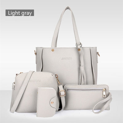Women Bag Set Top-Handle Big Capacity Female Tassel Handbag Fashion Shoulder Bag - Mirage Novelty World