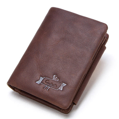 Genuine Crazy Horse Leather Men Wallets Vintage Trifold Wallet Zip Coin Pocket Purse Leather Wallet For Mens - Mirage Novelty World
