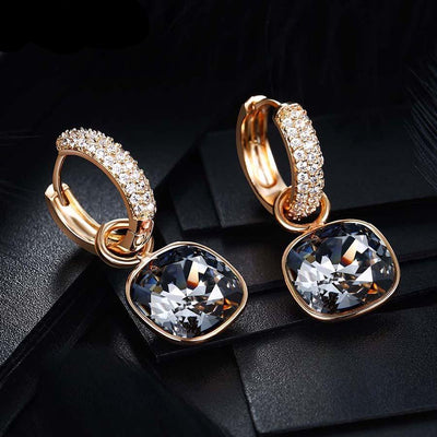 Jewelry Luxury Exquisite Crystals from Swarovski Gold Color Plated Earrings - Mirage Novelty World