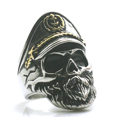 Mens Boys 316L Stainless Steel Cool Silver Golden Captain Skull Newest Ring - Mirage Novelty World