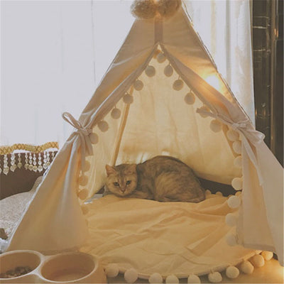 Portable Dog Cat Pet Teepee White Dog House Tent Washable House S/L With Mat - Mirage Novelty World