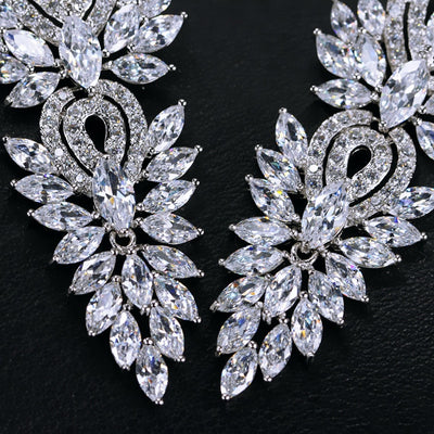 Wedding Party Jewelry Accessories Gorgeous Cubic Zirconia Big Long Luxury Bridal Earring - Mirage Novelty World