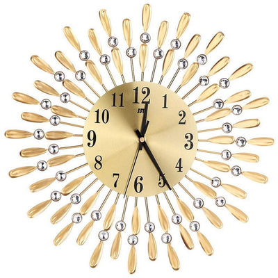 3D Large Modern Shiny Rhinestone Sun Style Wall Clock 15 inch Living Room Decor - Mirage Novelty World