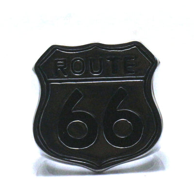 Men Boy 316L Stainless Steel Cool Biker Route 66 Classic Black Font Ring - Mirage Novelty World