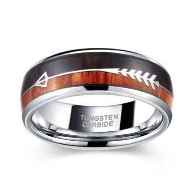 8mm Silver Natural Wood & Arrow Design Tungsten Ring For Men's - Mirage Novelty World
