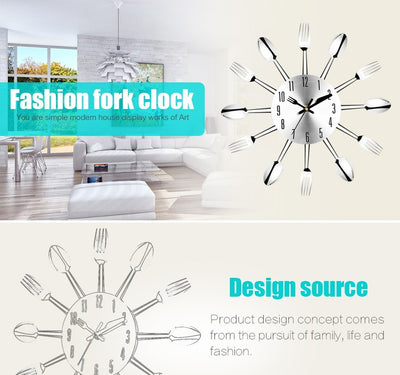 Modern Large Wall Clock Stainless Steel Wall Watch Magic Spoon Fork Quartz Needle 3D Clock Living Room Home Decor - Mirage Novelty World