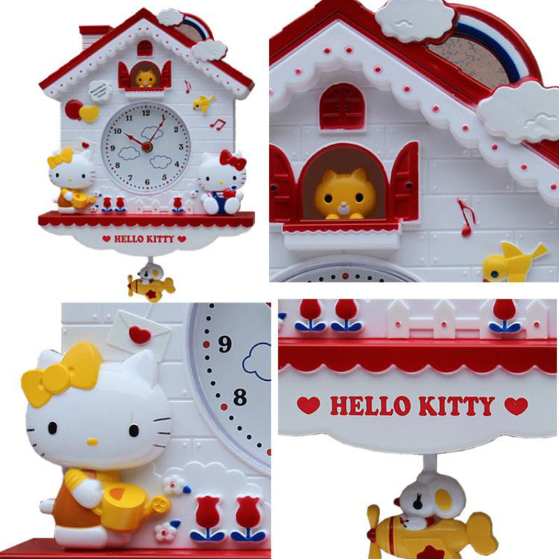 Novelty 12 Inch Cartoon Hello Kitty My Melody Swing Kids Girls Wall Quartz Clock Home Decro