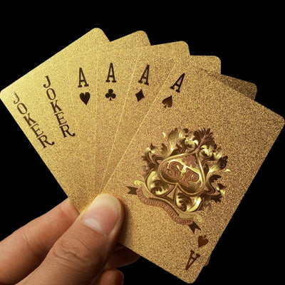Golden Playing Cards Deck gold foil poker set Magic card 24K Gold Plastic foil poker Durable Waterproof Cards magic - Mirage Novelty World