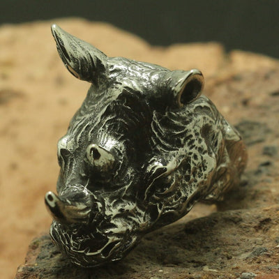 Cool Big Rhinoceros Head Ring Men Boy 316L Stainless Steel Rock Party Best Gift - Mirage Novelty World