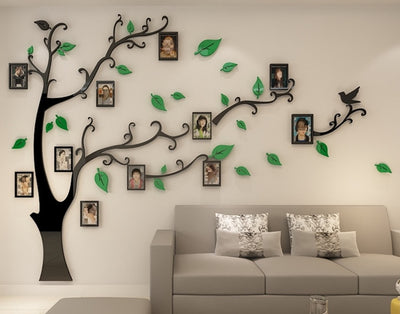 3D Acrylic Tree Photo Frame Wall Stickers Crystal Mirror Stickers Paste On TV Background Wall - Mirage Novelty World