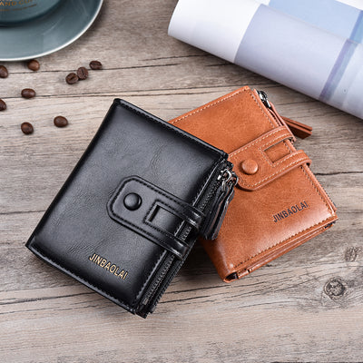 Tri-bifold Wallet Purse PU Leather Men's Wallet Hasp Design Small Mens Wallets - Mirage Novelty World