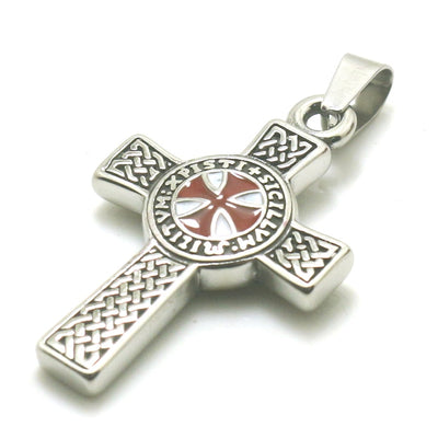 Men Boy 316L Stainless Steel Silver Cross Knights Templar Classic Pendant - Mirage Novelty World