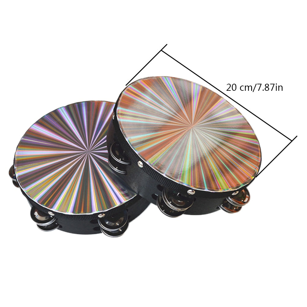 """10 Pack 8/"""" 3D Tambourine Music Double Row Jingle Percussion Instrument Church"""