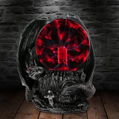Gothic Medieval Dragon Guardian Electric Plasma Ball Desk Lamp - Mirage Novelty World