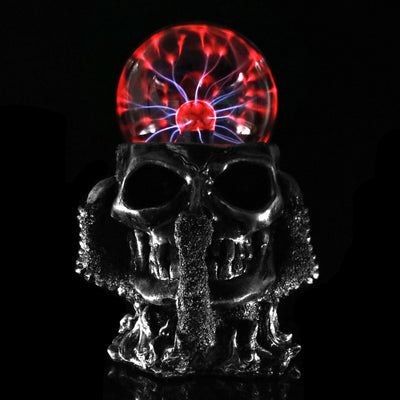 Black Skull Hand 2 Tesla Glass Plasma Ball Resin Lighting Lamp - Mirage Novelty World